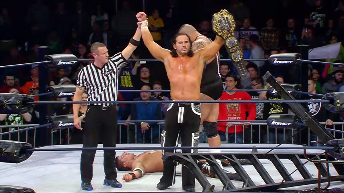 "Just realized this...  January 19, 2016 -- @MATTHARDYBRAND wins the TNA title on #IMPACTonAXSTV, turns heel and debuts ""Big Money Matt""  January 19, 2021 -- Matt Hardy returns to #IMPACTonAXSTV as ""Big Money Matt""  Talk about long-term storytelling! #ICONIC"