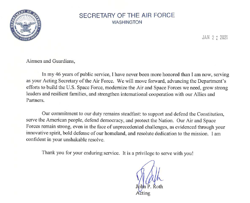 """Acting Secretary Roth's message to #Airmen and #Guardians: """"Our commitment to our duty remains steadfast: to support and defend the Constitution, serve the American people, defend democracy, and protect the Nation."""" #AimHigh #SemperSupra  @USAirForce  @SpaceForceDoD"""
