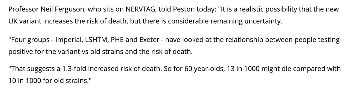 @lewis_goodall Further info. Its based around these quotes. Even he admits considerable remaining uncertainty. It doesnt also mean the individual case is 30% more likely to die. Its bad yeah, but he means a 30% increase based on the previous 10 per 1000, now 13 per 1000. Very different.