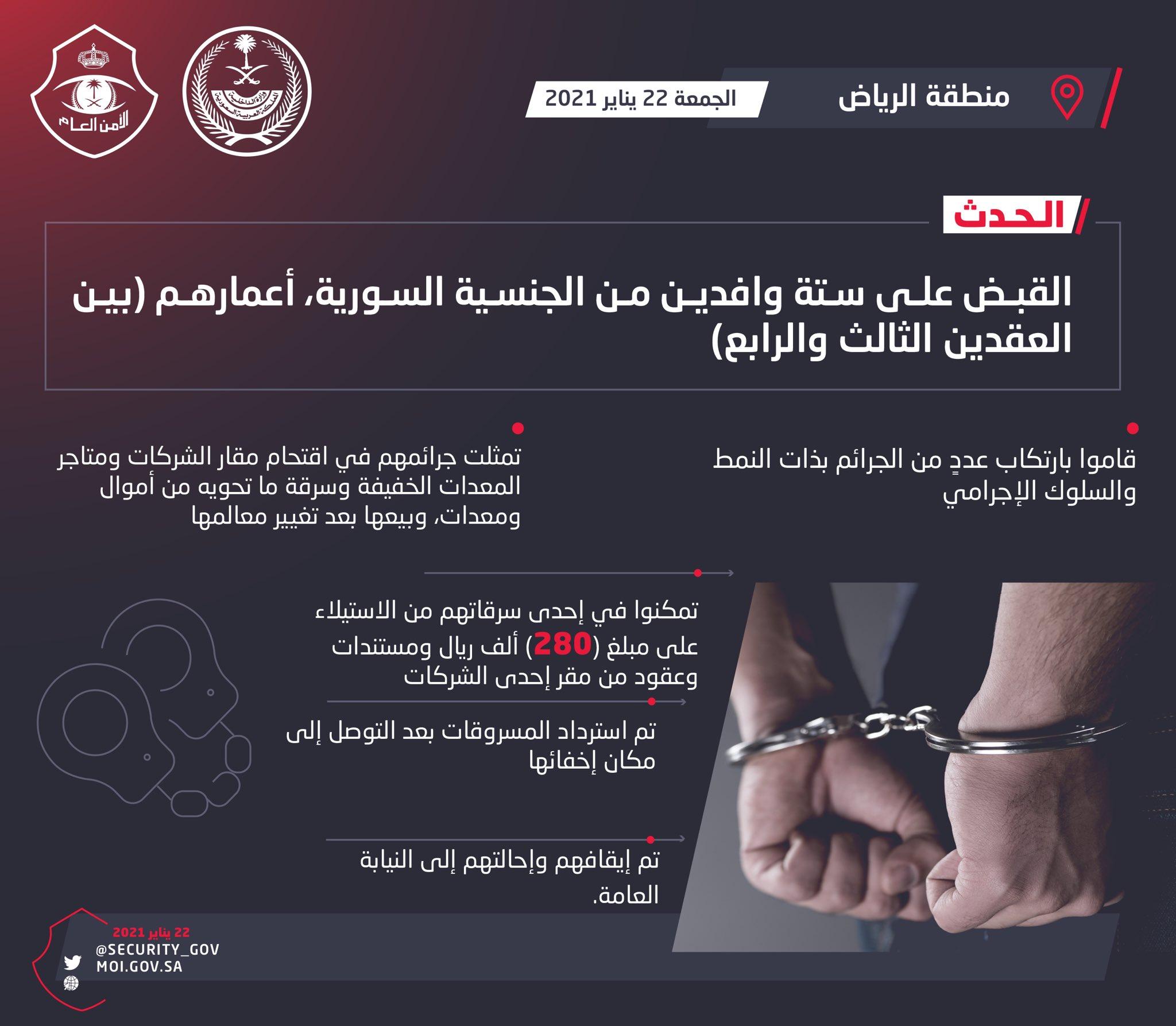 6 Expatriates arrested by Riyadh Police for theft - SAR 280,000