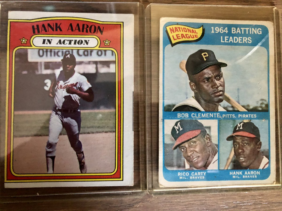 """The """"in action"""" card was my favorite Hank Aaron card. It wasn't posed and it showed his home run trot! #hankaaron"""