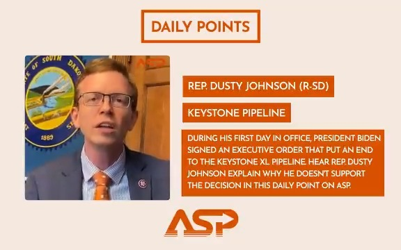 During his first day in office, President Biden signed an Executive Order that put an end to the Keystone XL Pipeline. Hear @RepDustyJohnson explain why he doesn't support the decision in his #DailyPoint. Watch the full video here 👉