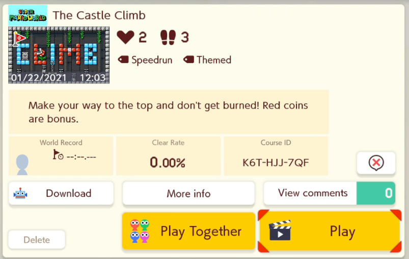 Another new level! I think this one's pretty fun #SuperMarioMaker2