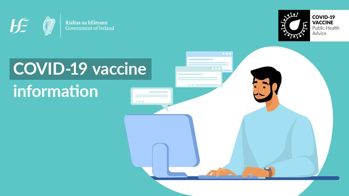 Young guy looking a computer. Teal background. Image copy reads: COVID-19 vaccine information