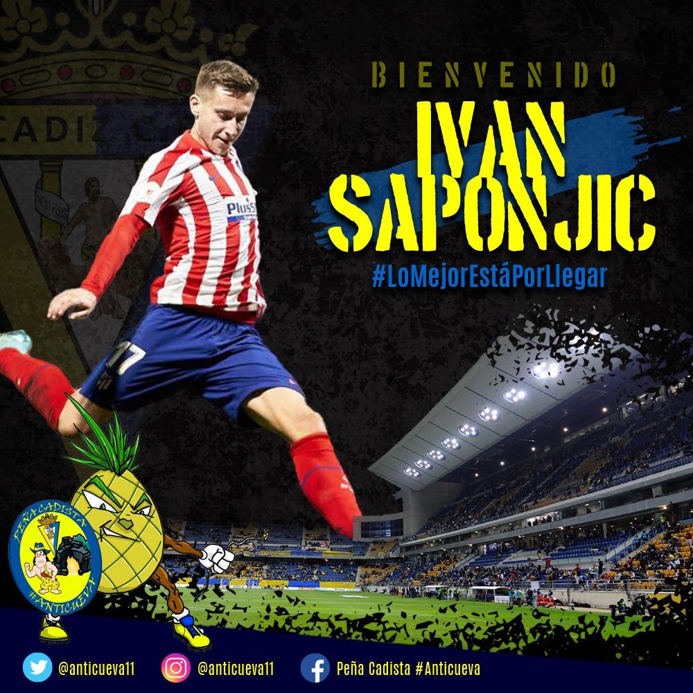 ¡Desde la peña cadista #Anticueva queremos dar la bienvenida a nuestro nuevo delantero Ivan Saponjic, que viene en calidad de cedido por el Atco. de Madrid! ¡Bienvenido Ivan, aprende pronto que, en Cádiz, LA LUCHA NO SE NEGOCIA! #BienvenidoSponjic #SiemprePositivo💛💛💙💙