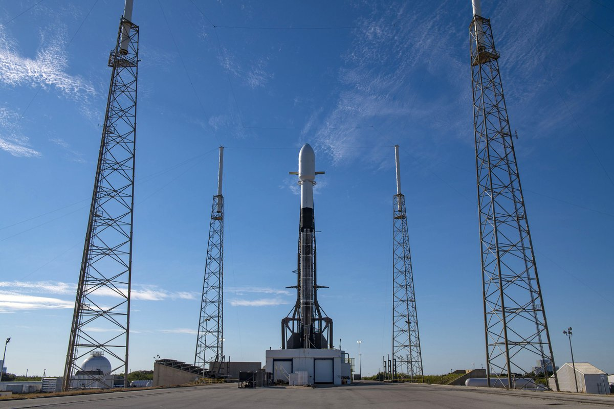 Falcon 9 and 143 spacecraft are vertical on pad 40 ahead of tomorrow's launch of the Transporter-1 mission, the first dedicated SmallSat Rideshare Program mission; SpaceX's 42-minute launch window opens at 9:40 a.m. and weather is 60% favorable →