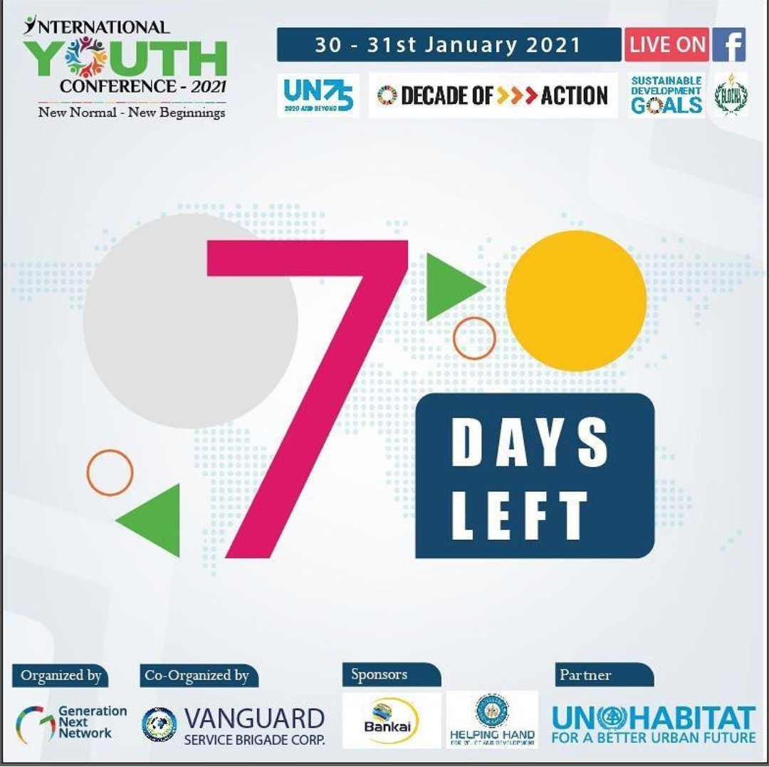 Seven days left to the #iyc2021. Register at  and connect with great young #changemakers #buildbacksustainable #UN75 #SDGs #decadeofaction #youthlead #TogetherWeCan  @IYCForYouth @gnvoyofficial @HelpingHandUSA @Bankai_Group @unhabitatyouth @UNHABITAT