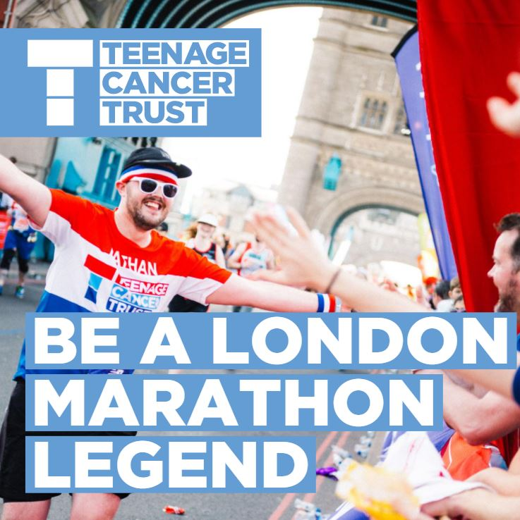 Our London Marathon 2021 charity places are open! Do something legendary this year and apply to be part of #TeamLegend.  By running the Marathon for us this October you'll be helping us make sure that no young person faces cancer alone. Sign up here: