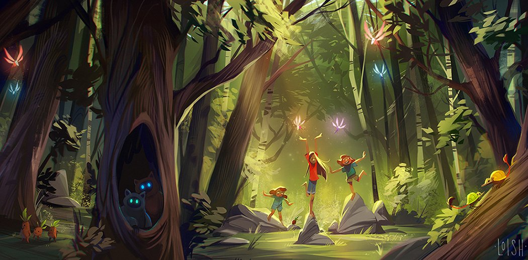 Concept art for Sisters of the Mist, an upcoming animated film directed by Marlyn Spaaij! She wrote a beautiful story about 3 sisters and their adventures in the forest, and also drew the layout for this scene. I loved painting it and adding all of the little forest creatures!