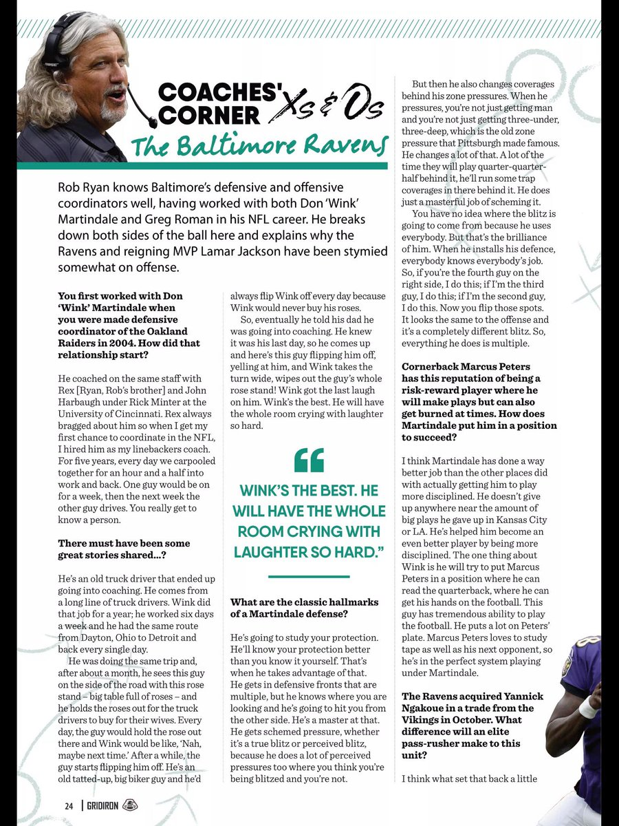 #Ravens new LB Coach Rob Ryan might have some explaining to do to Greg Roman and Gus Edwards after reading this article from the UK NFL Magazine.