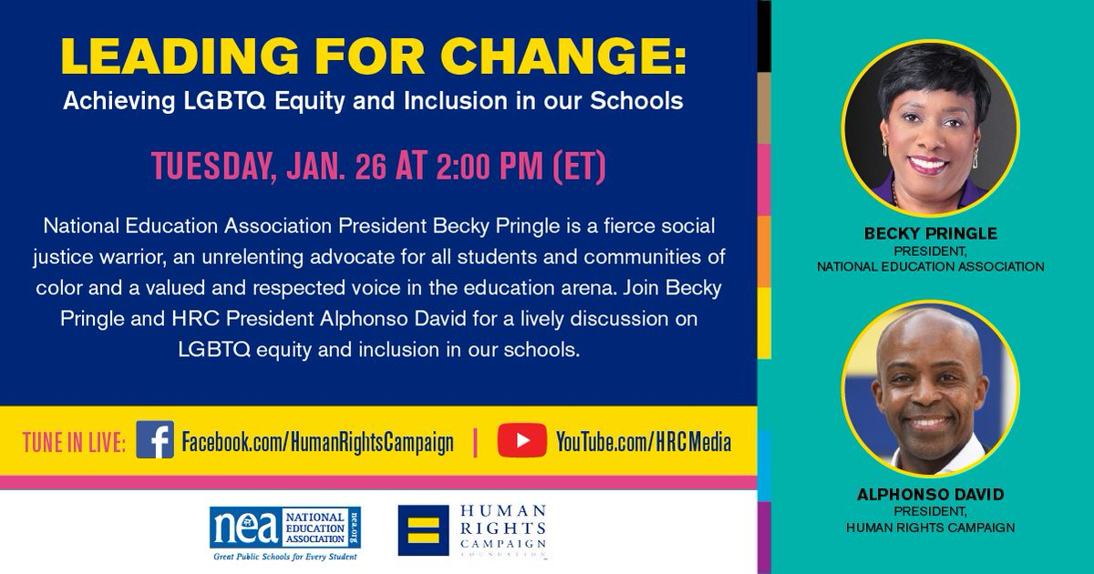 💻 @AlphonsoDavid and @NEAtoday's @BeckyPringle will discuss what it means to be Black leaders as the nation fights for racial justice during a pandemic. Join us on Tuesday, Jan. 26.