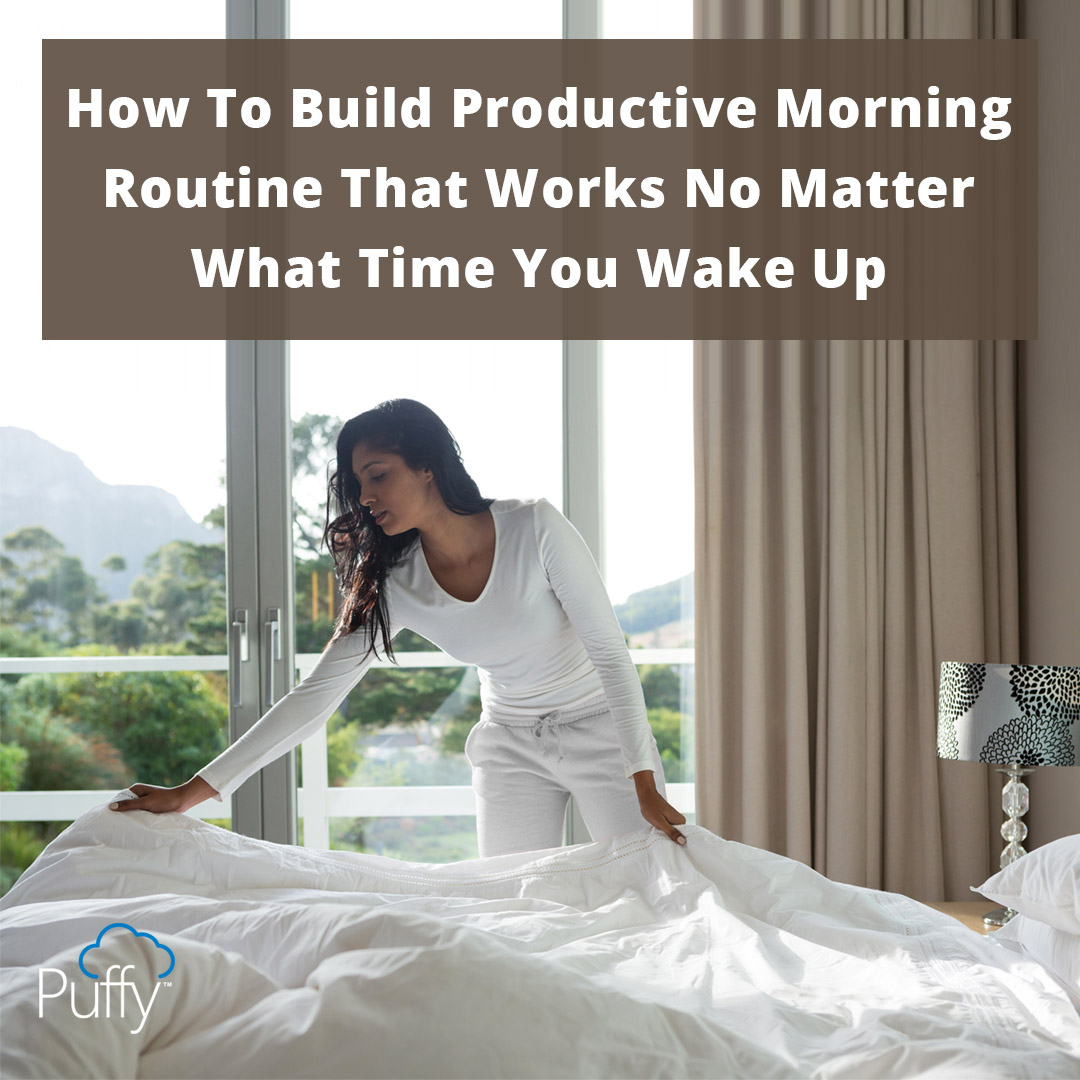 What time do you wake up in the morning?  We all know a morning person who strides through the office with a superior glow!🌙☁️  Find out our secrets here:   #bestmattress2020 #puffy #morningperson #morningroutine