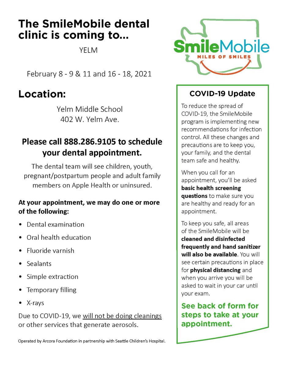 The SmileMobile is back! Their dental team will be in Yelm the weeks of Feb. 8 and 15. Local families with Apple Health (Medicaid) or without insurance are encouraged to call 888-286-9105. #access @YCSnews