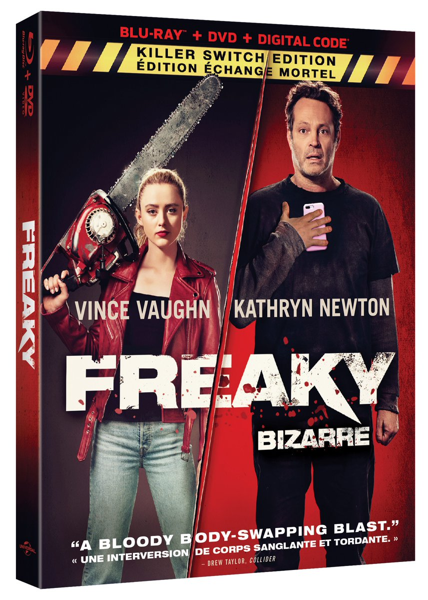 No body is safe. Follow us + RT to enter to #win a copy of the body-swap horror comedy #FreakyMovie, starring Vince Vaughn & @kathrynnewton and coming to Blu-ray February 9th!