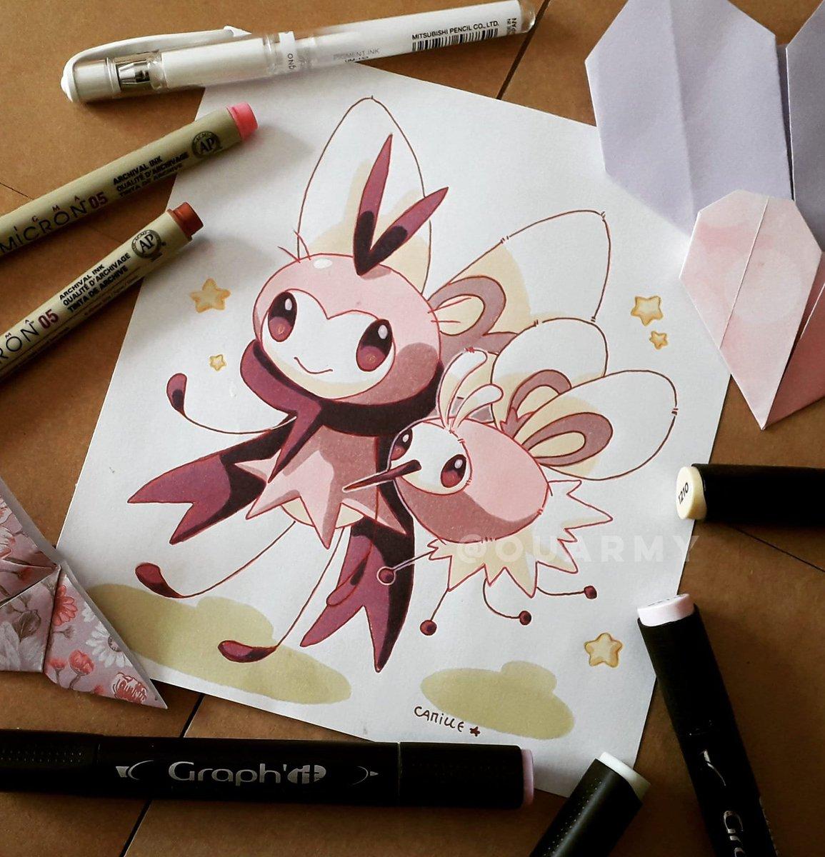 Bombidou et Rubombelle tout chiné chromatique :D ✨  #Pokemon #Pokemon25