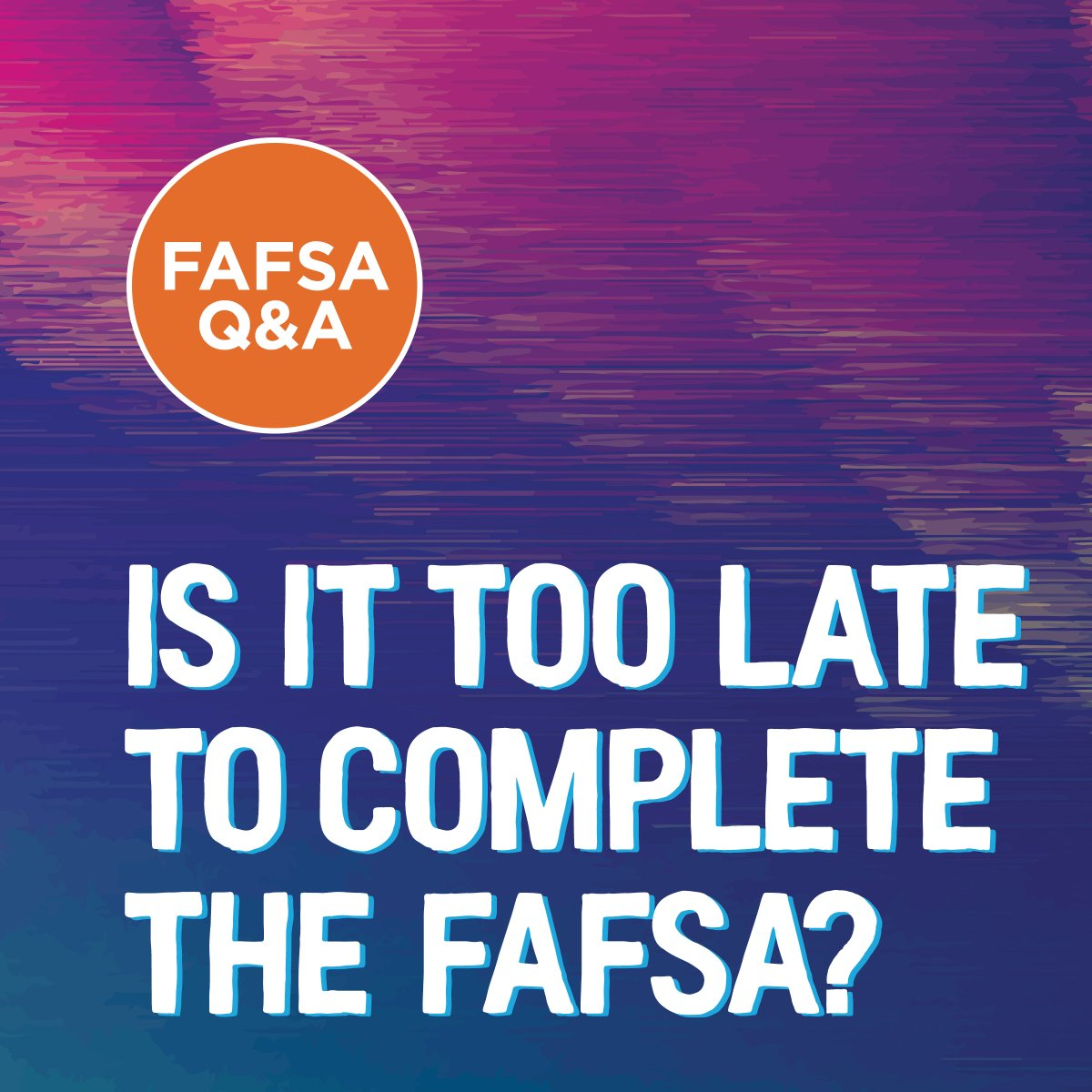 Not at all, but don't delay! The deadlines for some types of financial aid are fast approaching!   Have questions? Call us.  #college #FAFSA #FinancialAid