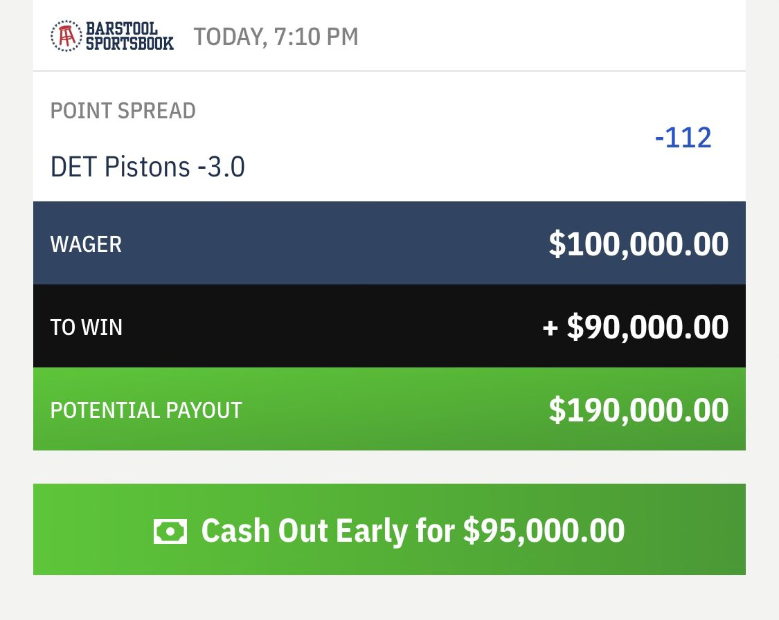 Anonymous Michigan bettor has placed a very large wager on the Pistons tonight @betthehoops