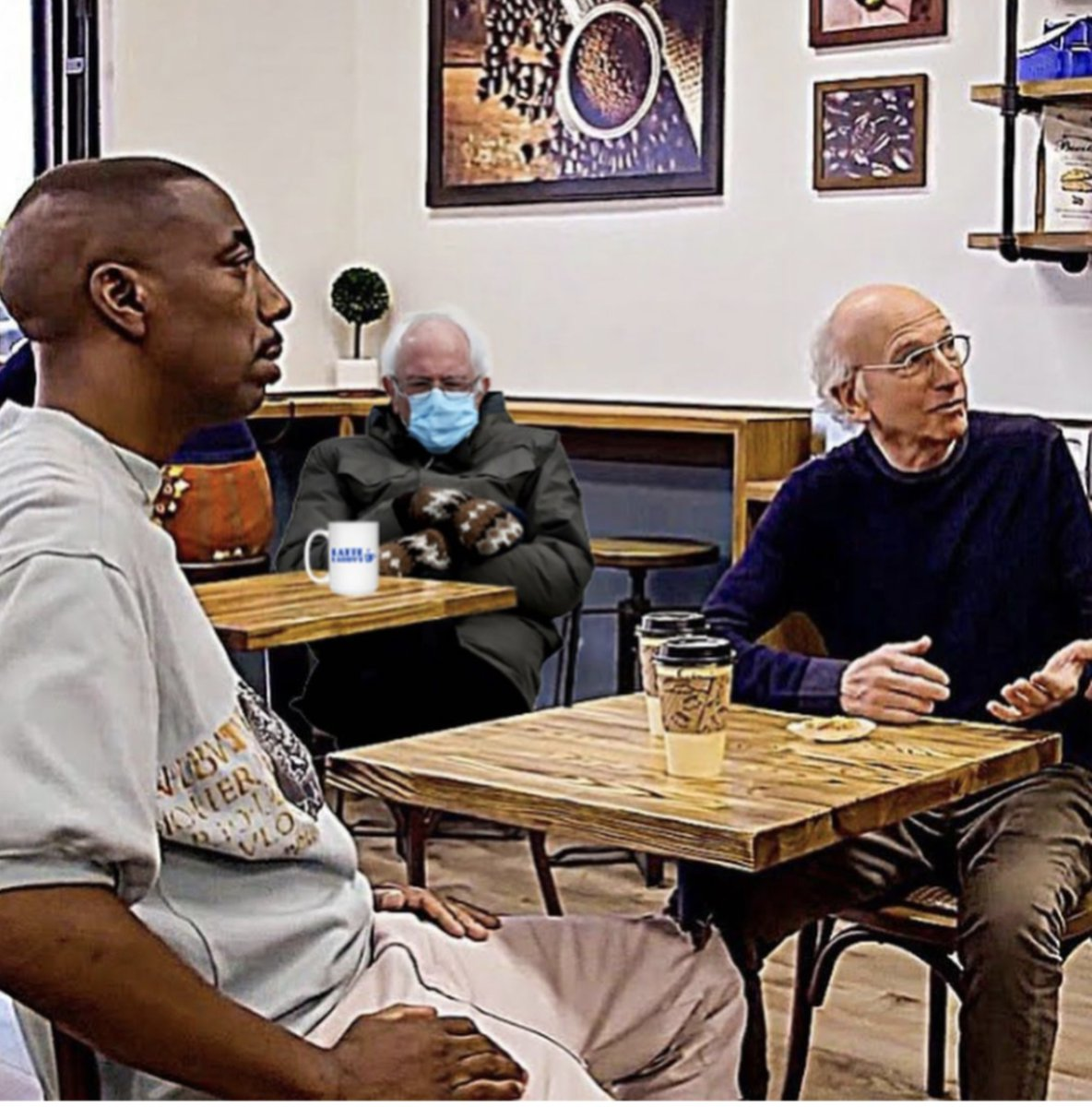 Now I have 3 pain in the asses in Mocha Joe's looking for free coffee. #CurbYourEnthusiasm #mochajoe #Berniememes #coffee #mittens #lattelarry