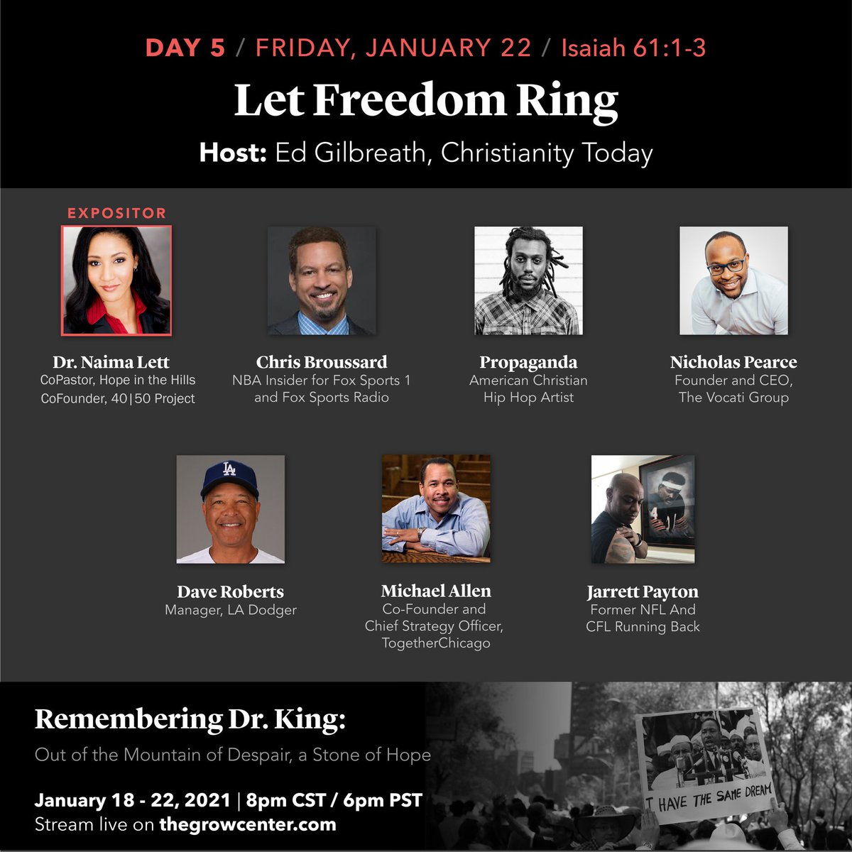 """Join me today JAN 22 @ 6 PM  PT, 8 PM CT, 9 PM ET:  @nseminary #growcenternetwork remembers Dr. King featuring bible teachers and ministry and marketplace leaders reflecting on different portions of his """"I Have a Dream"""" speech. #MLKDay"""