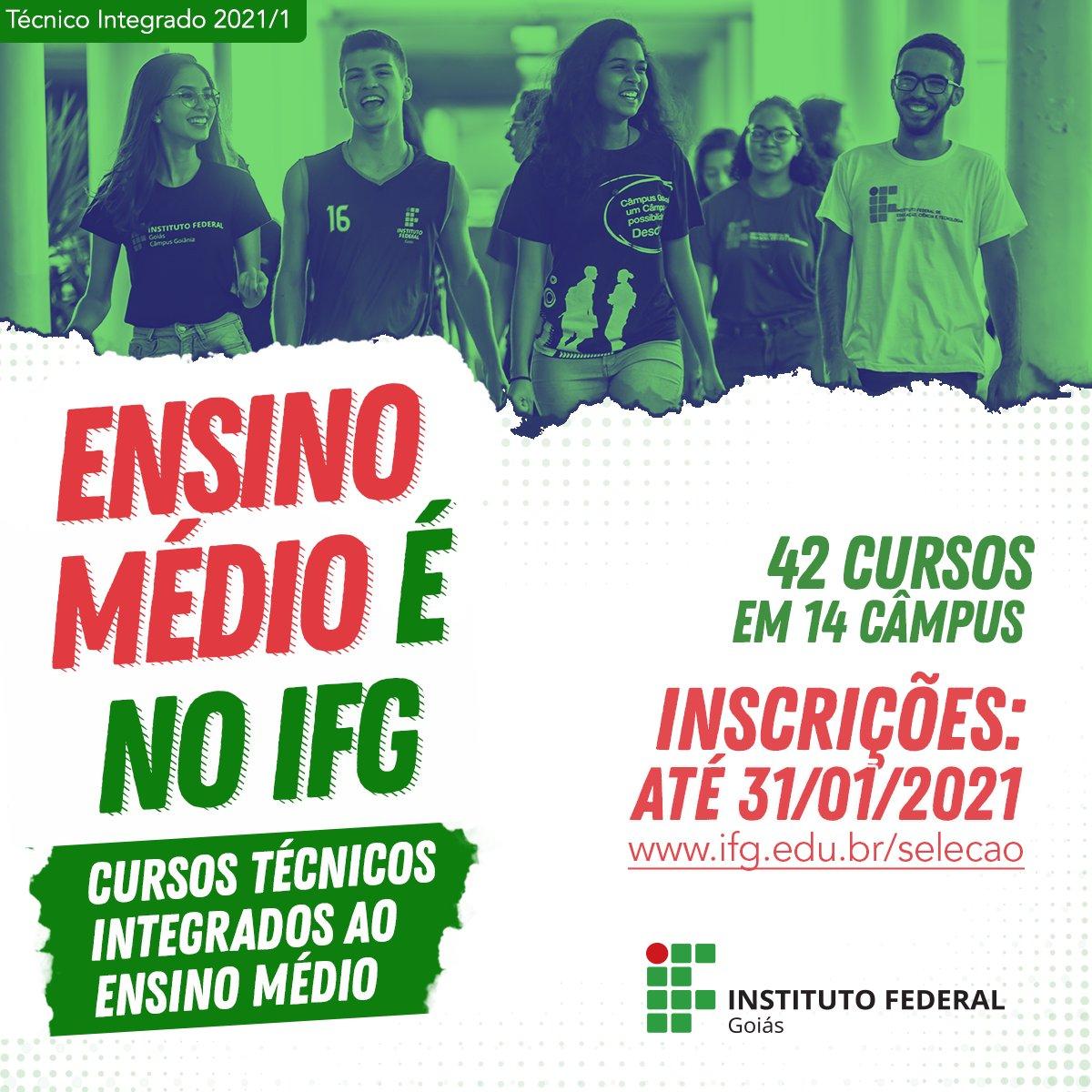 🤓 Quem aí tá interessado em fazer o ensino médio em uma das instituições que é destaque no #Enem em Goiás? Inscreva-se nos cursos técnicos integrados do IFG! O prazo para realizar sua inscrição é até dia 31.  Tudo de graça e a seleção será por sorteio