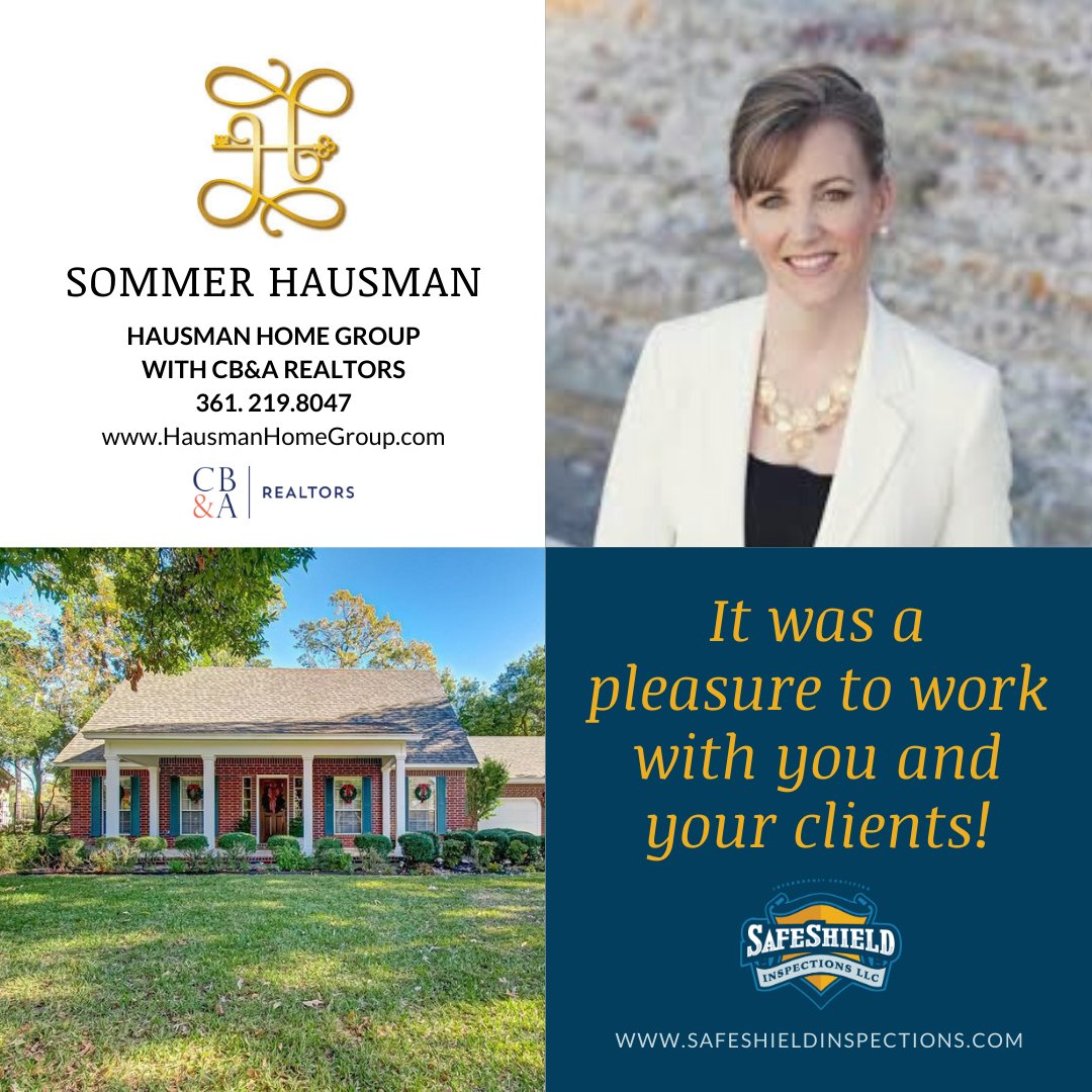 @sommerhausman, it's always a pleasure to work with you and we appreciated the opportunity to help your clients recently for their home inspection! #home #house #homeinspection #safeshieldinspections #supportlocal #veteranowned #sommerhausman #hausmanhomegroup #cbarealtors