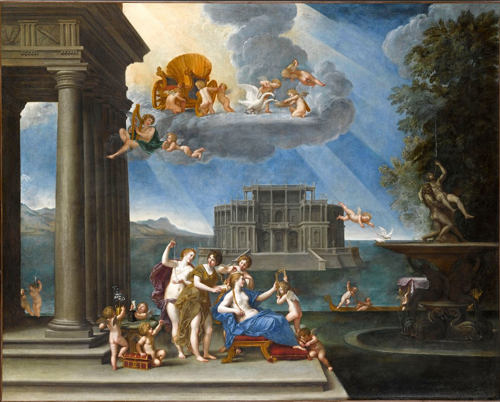 [#WorkOfTheDay] The scene takes place by a lakeside. Venus is at her toilet assisted by her suite of maidens. She is preparing to seduce Adonis. In the sky, cherubs are busy preparing her chariot or feeding swans that pull it. ☛  #Paintings