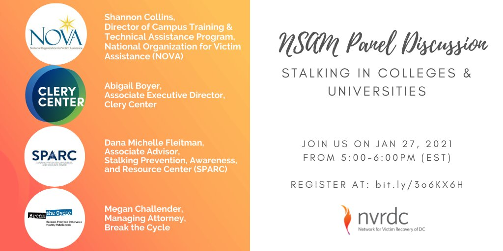 In honor of #NSAM2021, @NVRDC is hosting a panel discussion on stalking in colleges/universities. Join us as we talk w/ @NOVAVictims @followuslegally @CleryCenter & @BreaktheCycleDV abt info & resources for survivors. 1/27 at 5PM EST! REGISTER: http://bit.ly/3o6KX6H #stalking