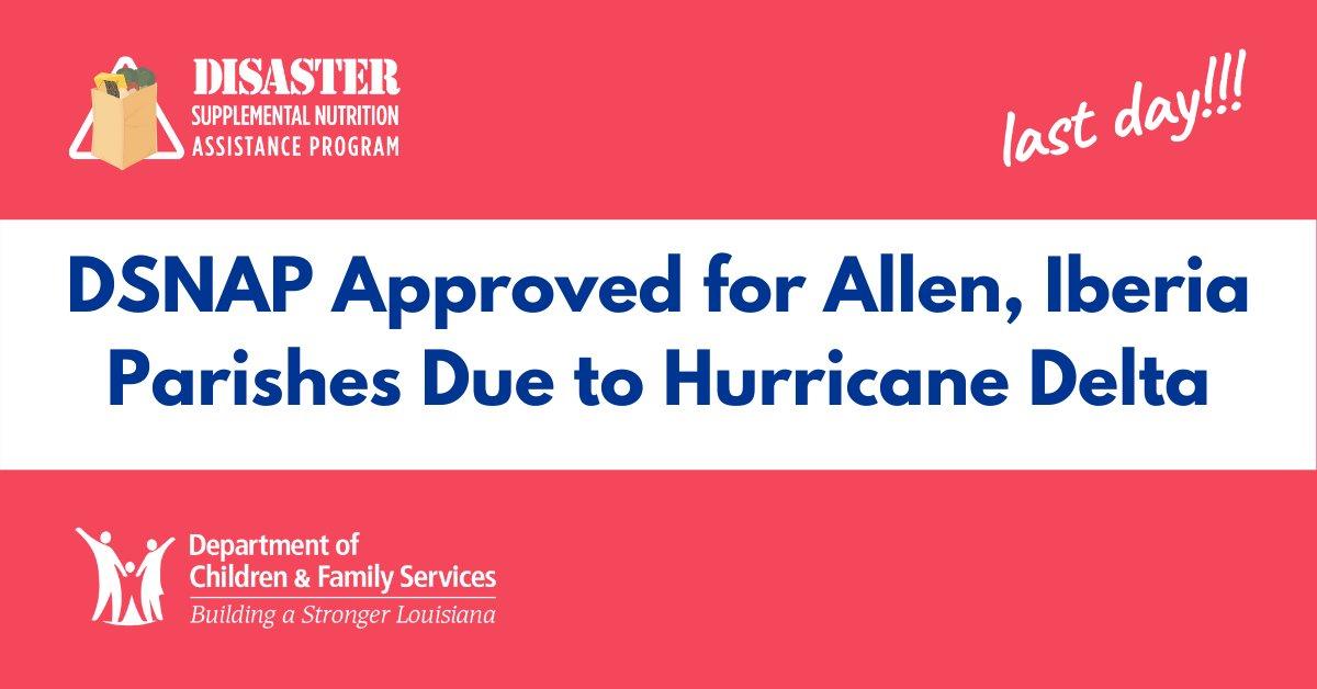 #HurricaneDelta #DSNAP Phase for Allen, Iberia Parishes - 𝗧𝗼𝗱𝗮𝘆 𝗶𝘀 𝘁𝗵𝗲 𝗹𝗮𝘀𝘁 𝗱𝗮𝘆 𝘁𝗼 𝗮𝗽𝗽𝗹𝘆! Details at . #lagov #lawx