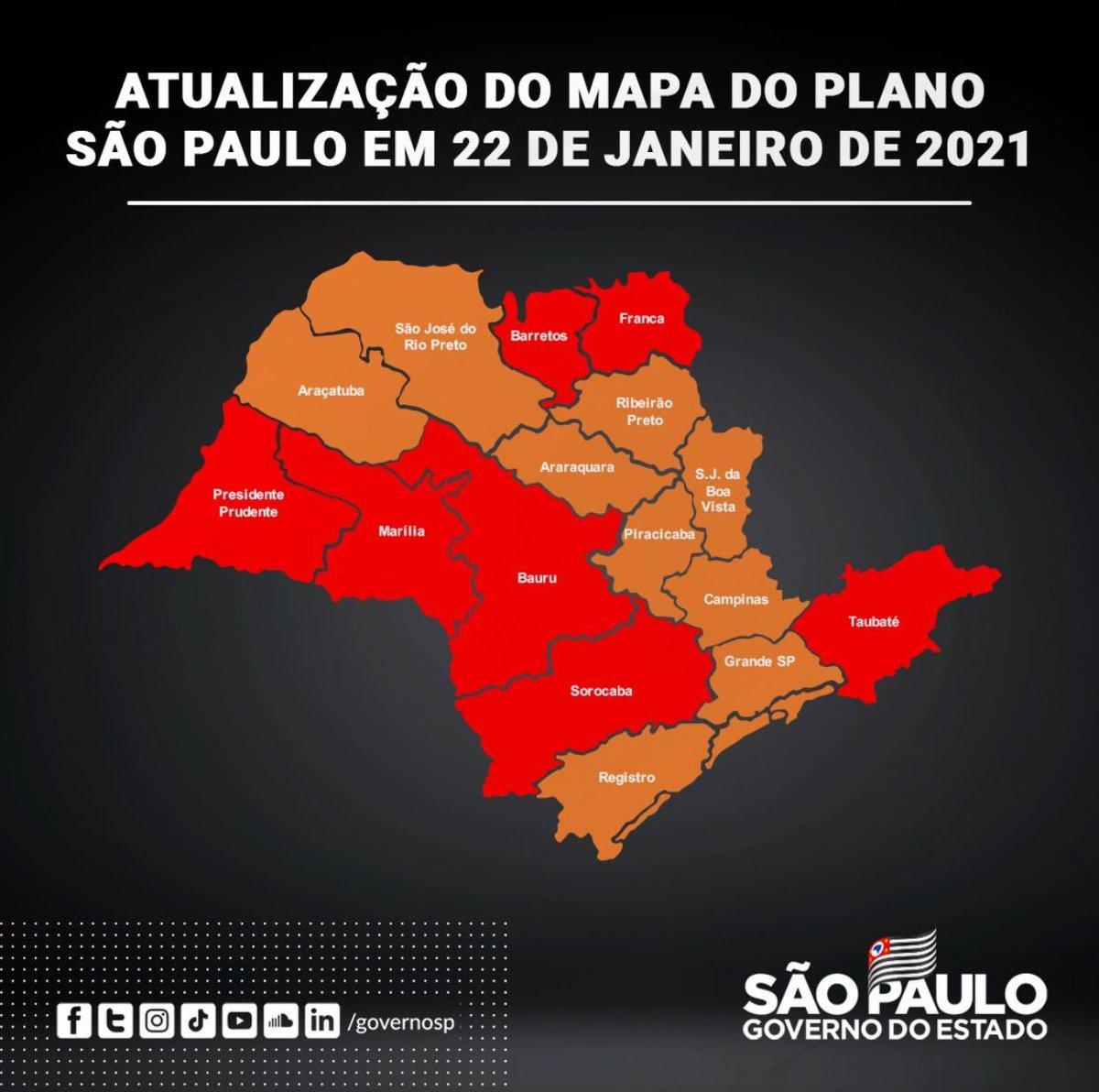 Compartilho nova atualização do Plano São Paulo. A medida vale a partir de segunda-feira (25). Estamos endurecendo as medidas de restrição em virtude do aumento do número de casos, internações e óbitos em SP.