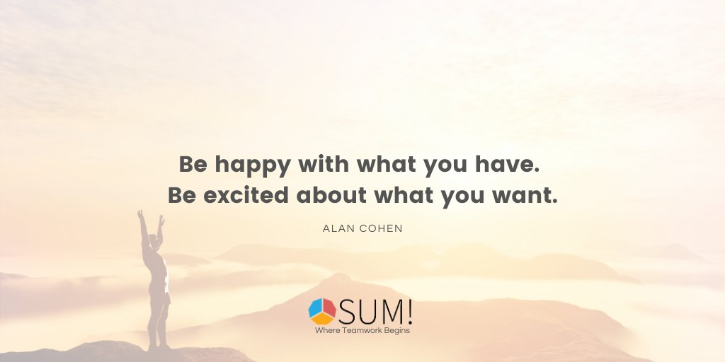 Don't forget to let yourself be happy. It's so easy to get caught up in what needs to be done tomorrow that sometimes we forget what we have accomplished today. #sumforteams #teamwork #FridayFeeling
