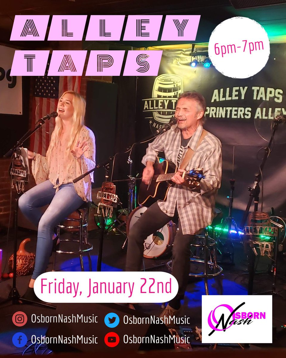 Stop on out #TONIGHT (6-7pm) at @AlleyTaps to have some fun with us!!! 😃🎶🎤🥳🎸 #FridayFeeling #FridayVibes #FriYAY