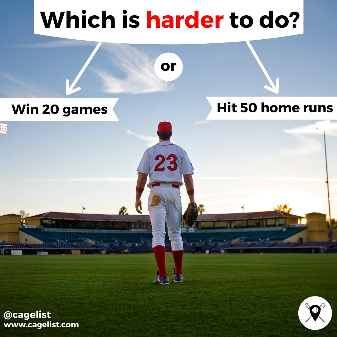 What do y'all think? What's more tough to do? Winning 20 games or hitting 50 homeruns.  Only an experienced baseball player and/or seasoned fan will have a clue... #QuizTime #CageListQuiz #BaseballQuiz #BaseballFanatic #Baseball #MLB #homerun #dinger #homeruns #mlbbaseball #homer