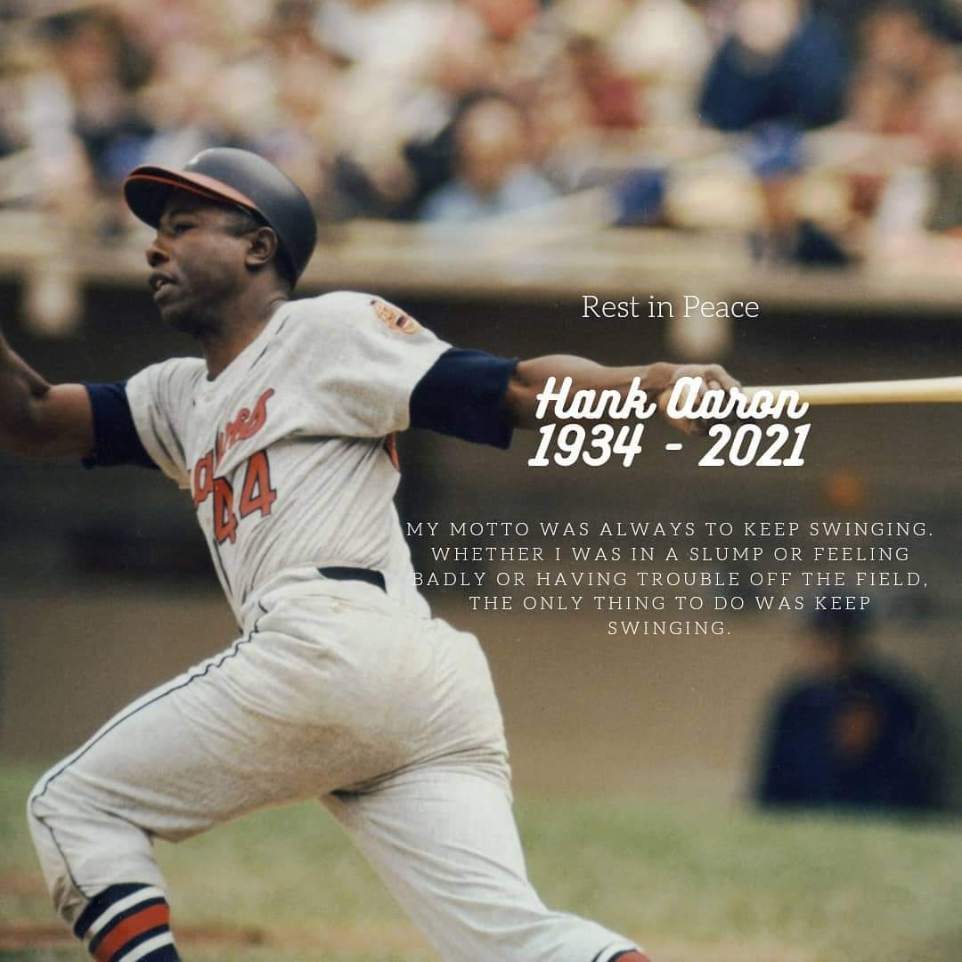#SRBB's heart sank to hear the news of Hank Aaron's passing at the age of 86. He was a legend on and off the field. Our thoughts and prayers are with his family. #RIPHankAaron #HOF #baseball #homerunking #keepswinging #HammerinHank #OhHenry  @IBWAA @swpact