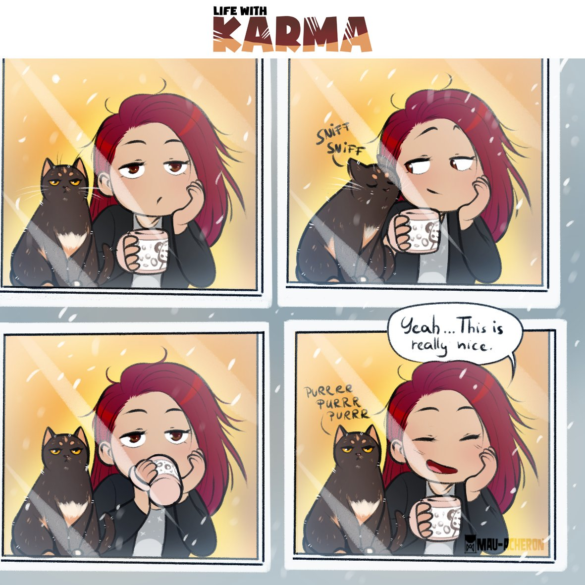 Life with Karma- Nice morning New slice of life comic about my cat and me. Mostly about my cat xD Episodes goes one week sooner on my Patreon:  What's your favourite chill moment? #comic #sliceoflife #lifewithkarma #cat #catcomic #ArtistOnTwitter