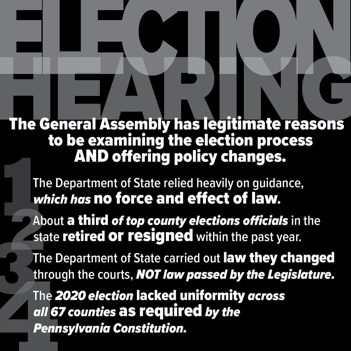Yesterday's #PAHouse State Government Committee hearing on PA election laws contained a wealth of information. Here are some of the big takeaways that Chairman @RepGrove 's office put together.