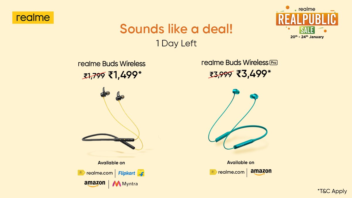 Drop the wires and avail exciting deals* on #realmeBudsWireless and #realmeBudsWirelessPro. Get them now at the #RealpublicSale, ending tomorrow! *T&C Apply  Head here: