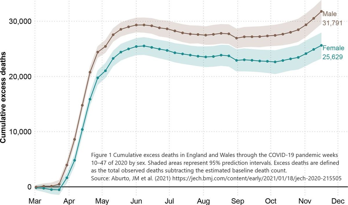 Our new article @JECH_BMJ brings home the extreme loss of life from #COVID19 in England & Wales – as of late November 2020 there were an additional 57,419 excess deaths (+deaths compared with baseline mortality)….thread.. @jm_aburto