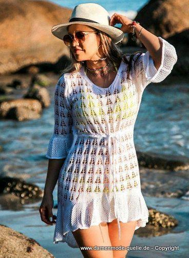 Kleider 2021 | Beach Strand Sommerkleid 2021 Gestrickt in Weiß | Damenmode Günstig Online Kaufen #mode #damenmode #sommermode #fruehling #damenmode2021 #jacken #blazer #freizeitanzug #outfit #hosenanzug #elegant #bequem