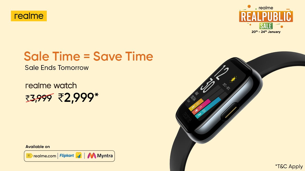 The clock is ticking and it's #TimeToBeSmarter. Grab the #realmeWatch at an amazing price* during the #RealpublicSale, ending tomorrow.  *T&C Apply Head here: