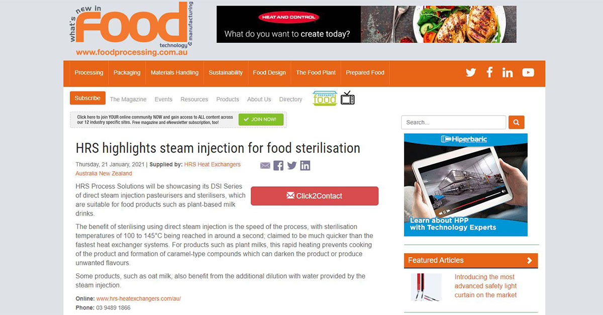test Twitter Media - HRS is featured in @FoodProcessAU: HRS Highlights Steam Injection for Food Sterilisation. Read more: https://t.co/2W9AGJIR2b #sterilisation #steaminjection #plantbasedmilks #newsarticle https://t.co/DkUYyLyyik