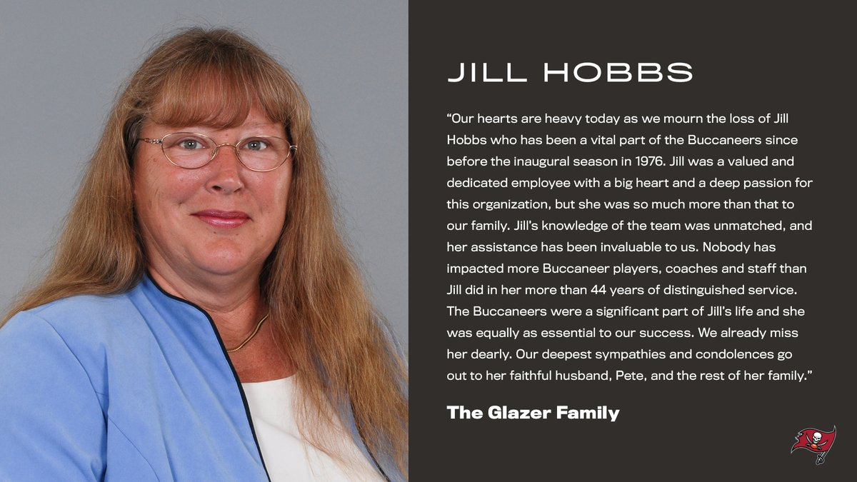 Jill Hobbs will always be a part of the Buccaneers family. Rest in peace. ♥️