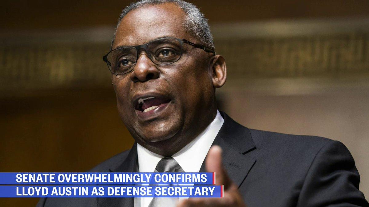 Senate confirms @LloydAustin as first Black Defense Secretary.  Plus, Senate finance committee approves @JanetYellen for Treasury Secretary.   @sahilkapur has more: