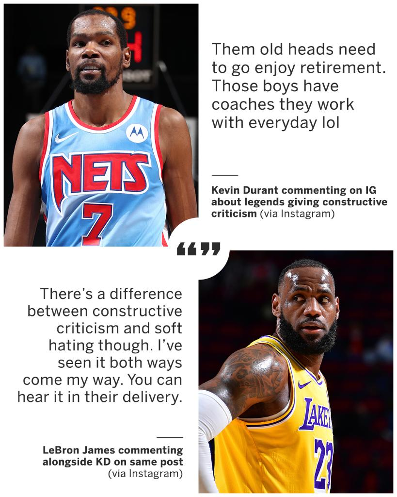 KD and LeBron shared their thoughts on NBA legends giving constructive criticism to younger players.