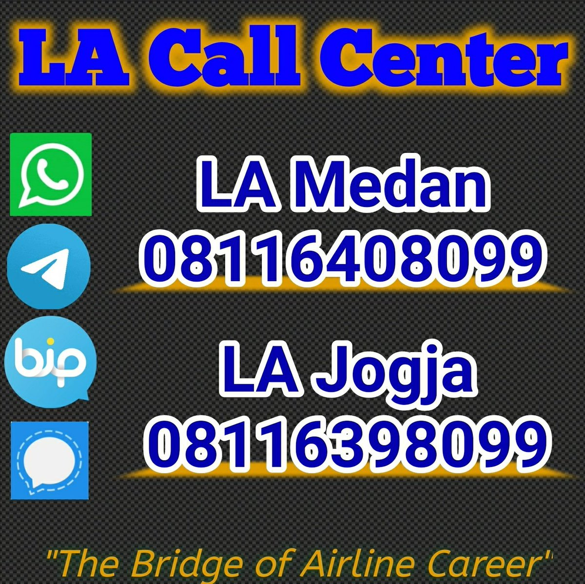 Telah dibuka akses komunikasi yang lebih luas untuk Sahabat LA yang akan melakukan komunikasi dengan Staff Lintas Angkasa Aviation Training Center (LA). Available akses beberapa aplikasi yaitu Whatsapp, Telegram, BIP & Signal.  #LAcallcenter https://t.co/Ih9hbMk1aK