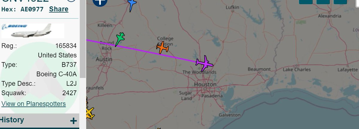 #USNavy Boeing C-40A 'Clipper' NUFEA aircraft tracked north of Houston out of El Centro Naval #aviation