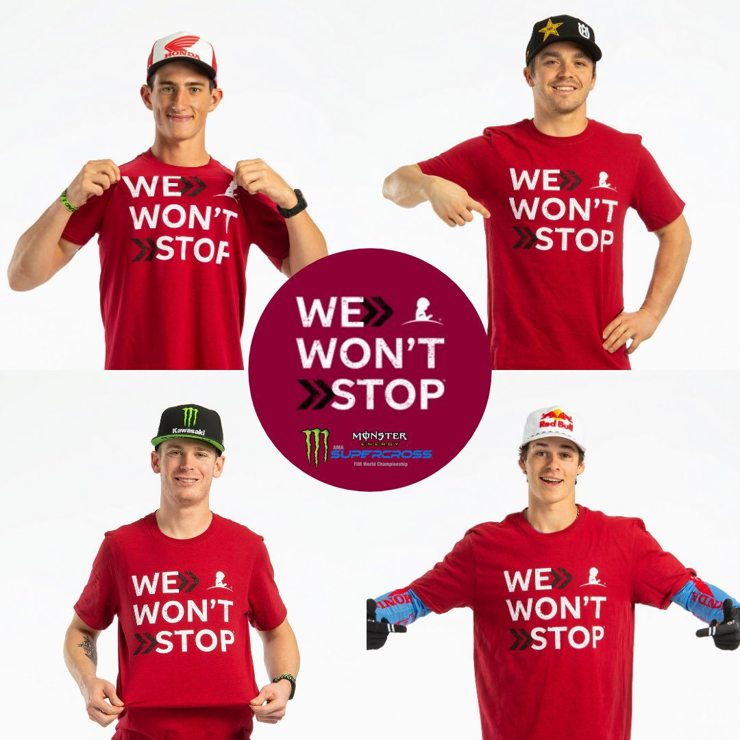 """Because of your support, @StJude won't stop! The only way to get the new We Won't Stop shirt is by becoming a monthly donor now! Text """"SUPER"""" to 785-833 or  ❤️  #SupercrossLIVE #StJude"""