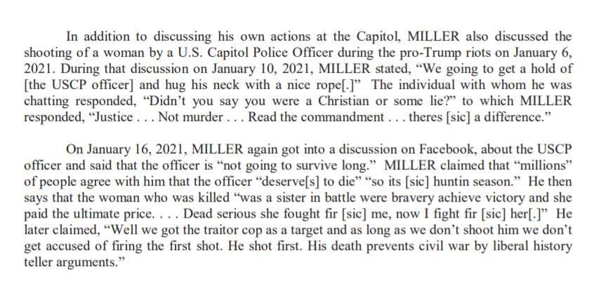 According to the FBI, Miller also chatted on Facebook about hanging the US Capitol Police Officer who shot who shot Ashli Babbitt. (@wfaa)