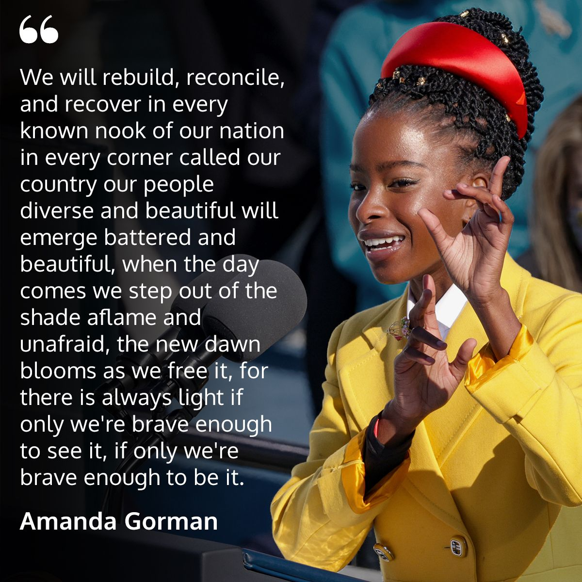Going into the weekend still thinking about the amazing performance — and poem — by Amanda Gorman. What was your favorite part? 💜