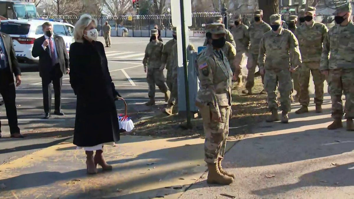 "FL Dr. Jill Biden visiting the National Guard at the Capitol: ""I just wanted to come today to say thank you to all of you for keeping me and my family safe ... The White House baked you some chocolate chip cookies."""