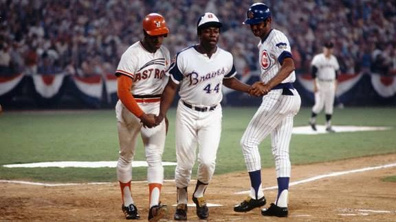 #HankAaronWeekend: Aaron is congratulated at home plate by Cesar Cedeno and Billy Williams after his 6th inning 2-run HR in the 1972 #AllStarGame in #Atlanta. @Braves @astros @Cubs #RIPHankAaron